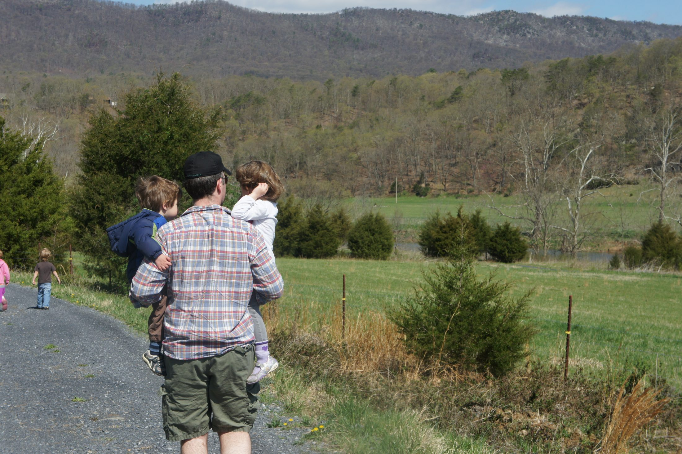 Shawn Brimley hiking with kids outside DC