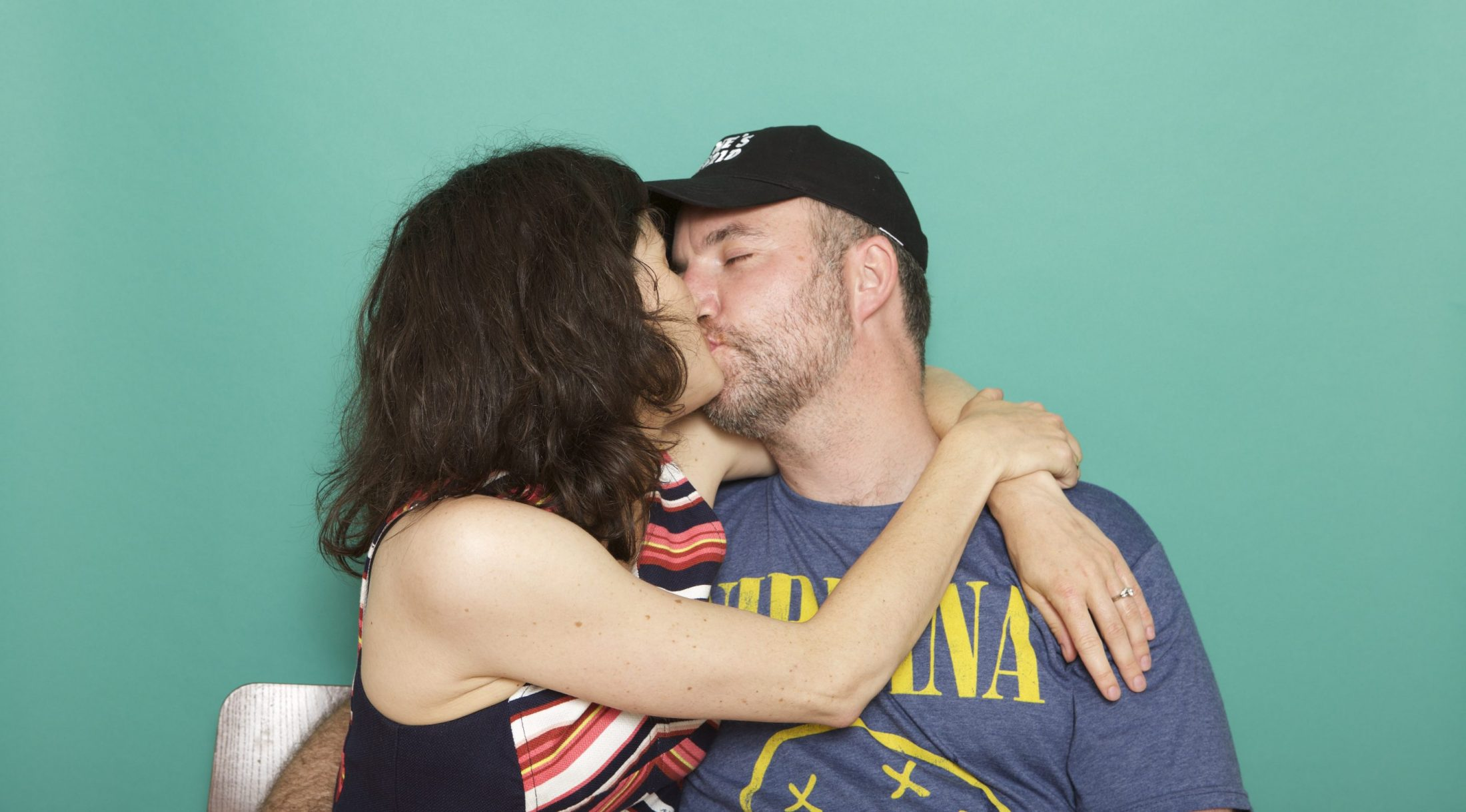 Shawn and Marjorie Brimley kissing