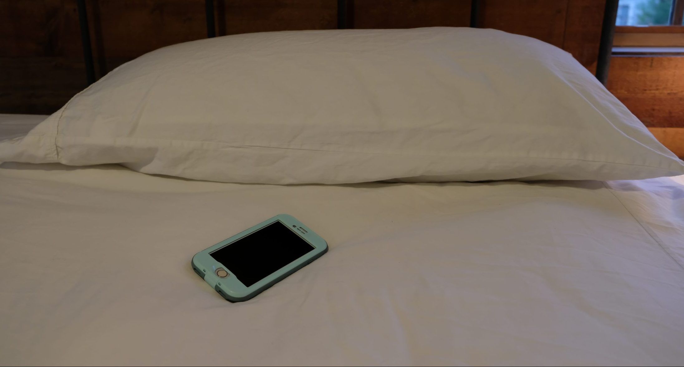 Phone on bed in DC house