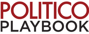 Politico Playbook logo where Marjorie Brimleys Eulogy of Shawn was mentioned as bonus great weekend read
