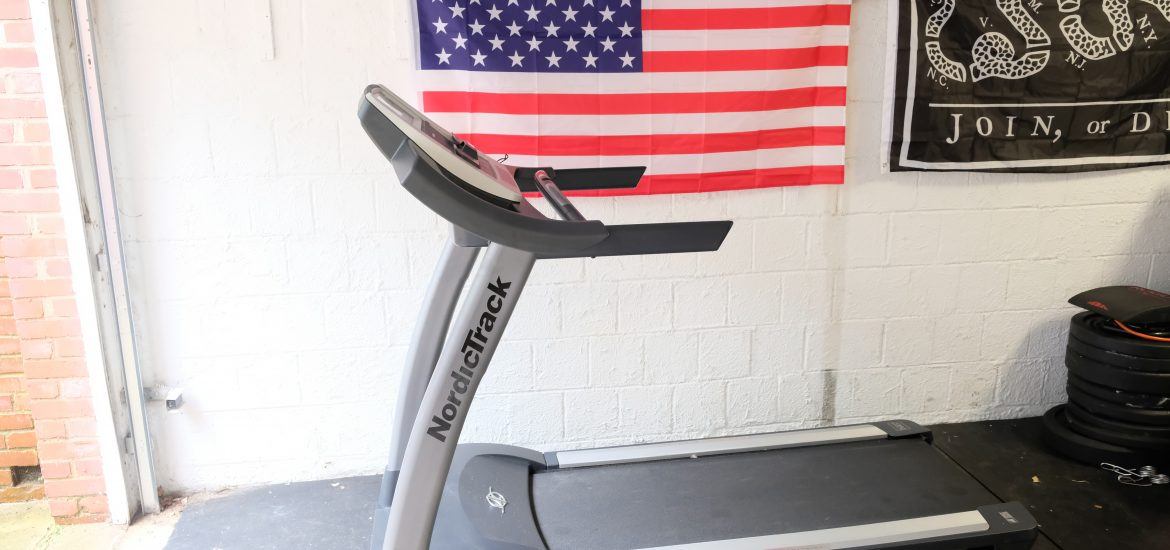 Brimley family treadmill in basement in Washington DC house