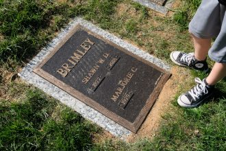 Shawn Brimley's grave with Austin's converse