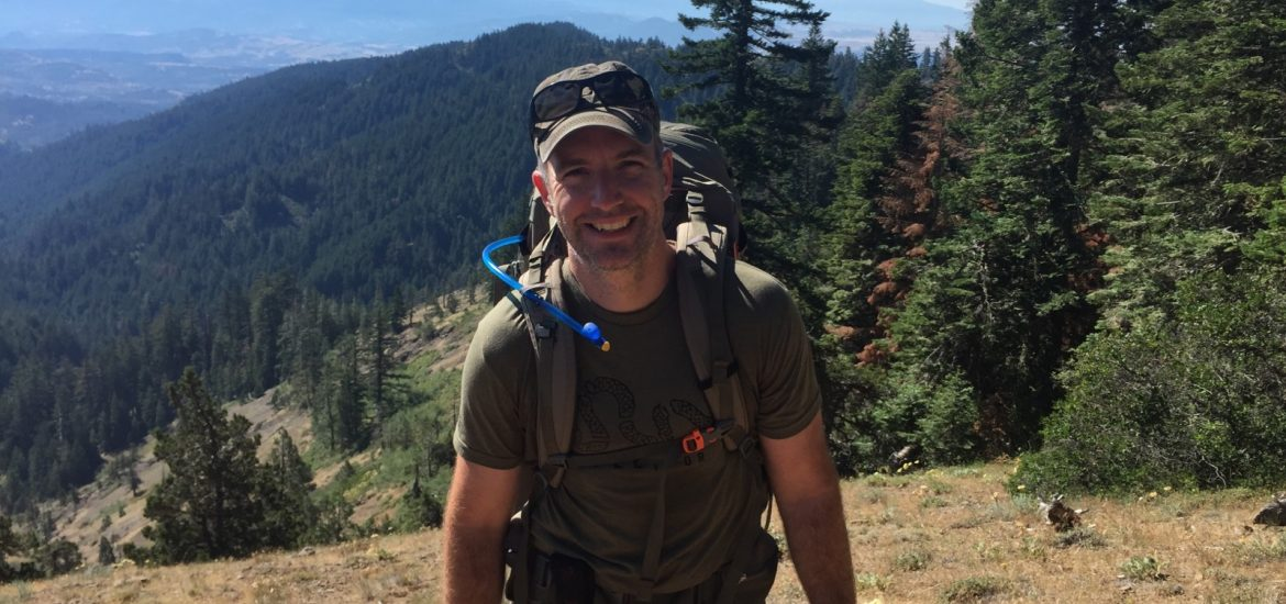 Shawn Brimley backpacking before cancer