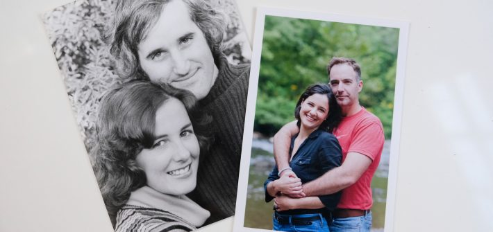 Two photos of Marjorie Brimley's parents and husband before the death of her mom and Shawn