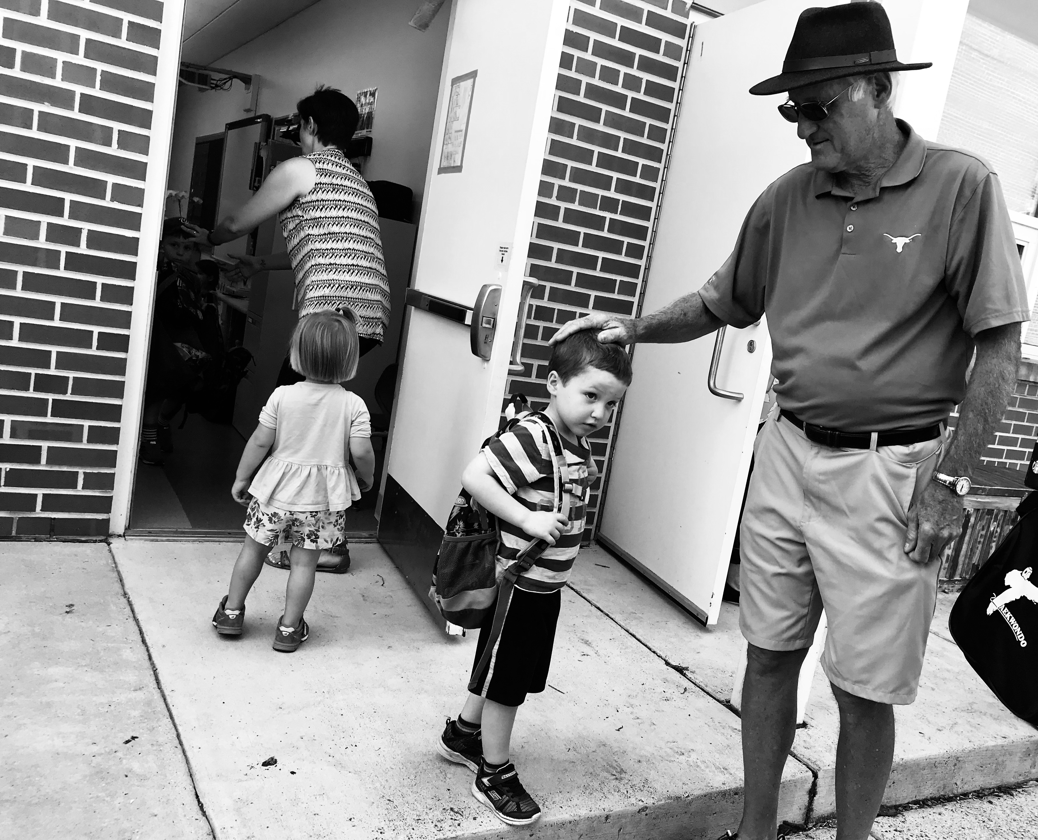 Grandpa Tom and Tommy Brimley at school pick up after death of Shawn