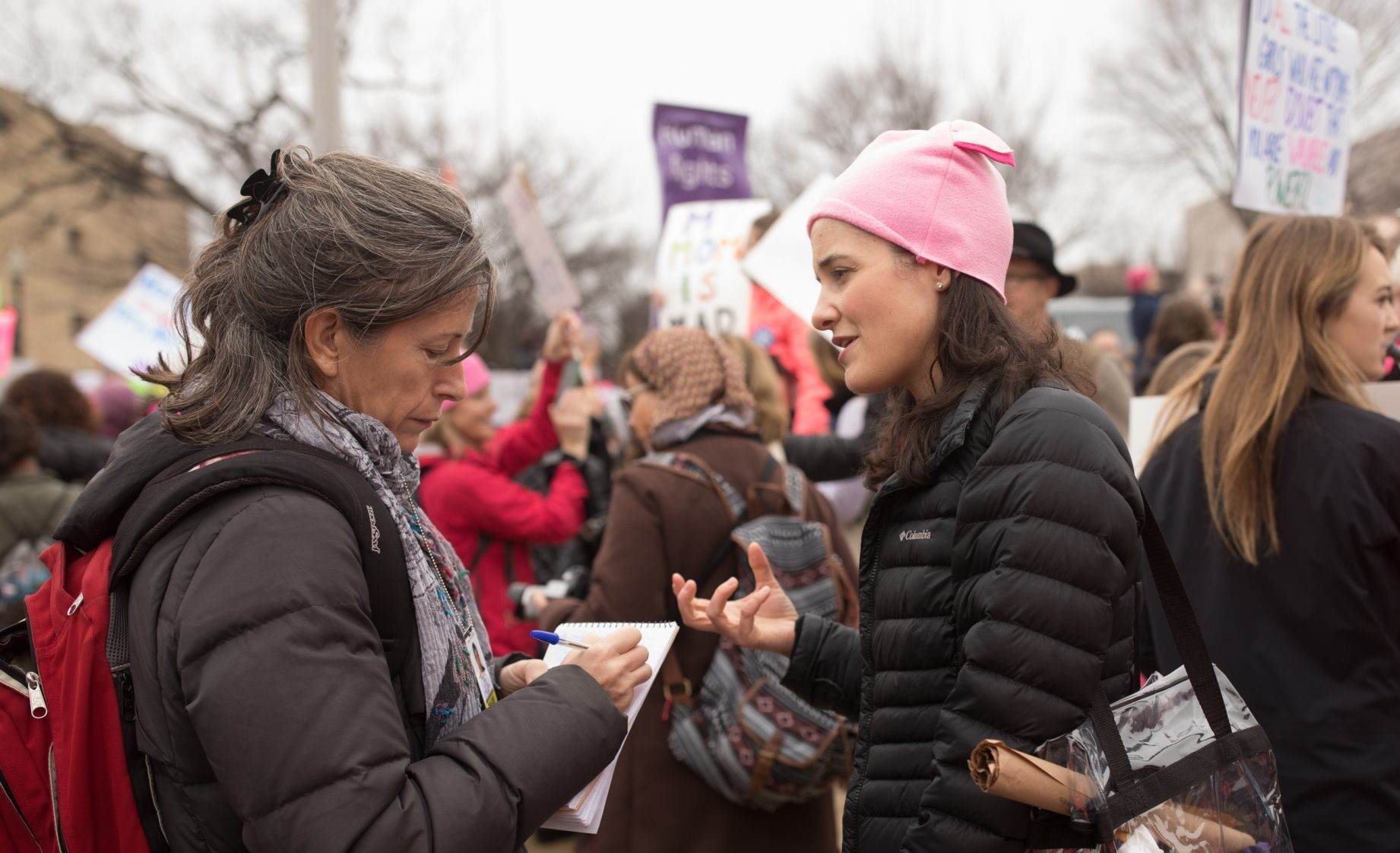 Marjorie Brimley getting interviewed during the Women's March in DC