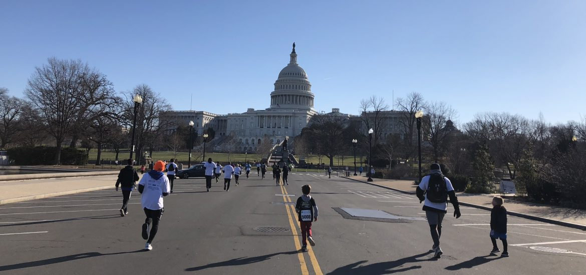 Austin Brimley running during Colon Cancer run in DC 2018
