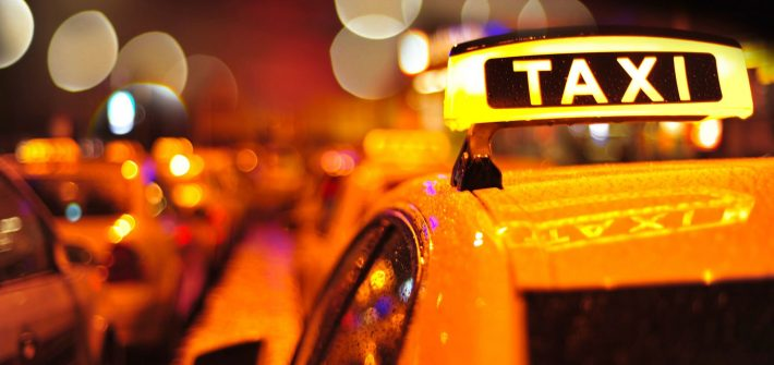 Taxi at night similar to one taken by DC widow Marjorie in story