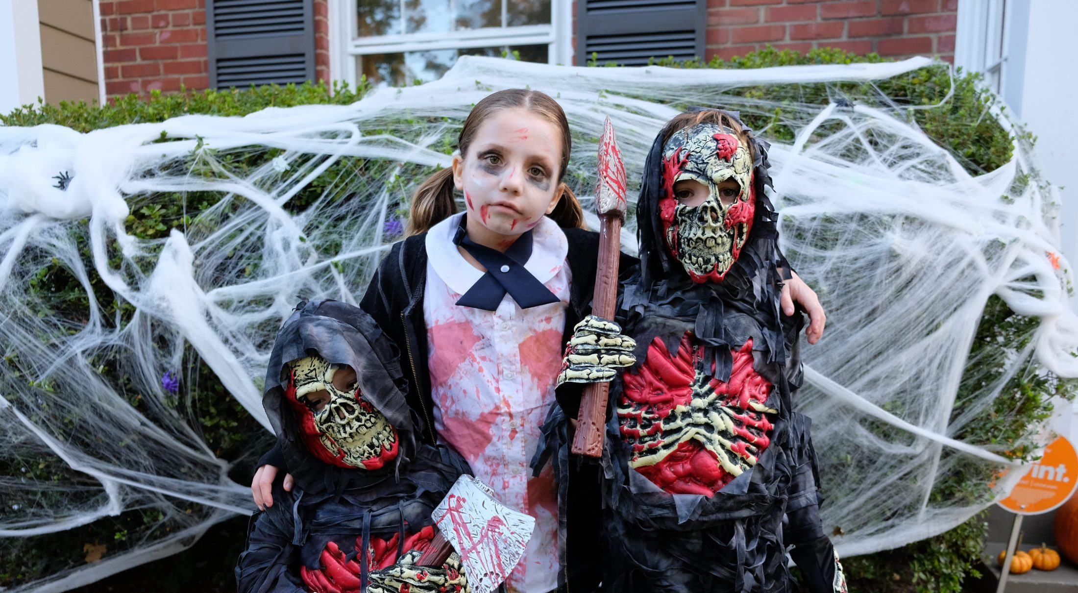 Brimley children dressed as zombies on first Halloween after death of their father