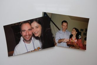 Photos of Marjorie and Shawn Brimley in photos just before and after their marriage