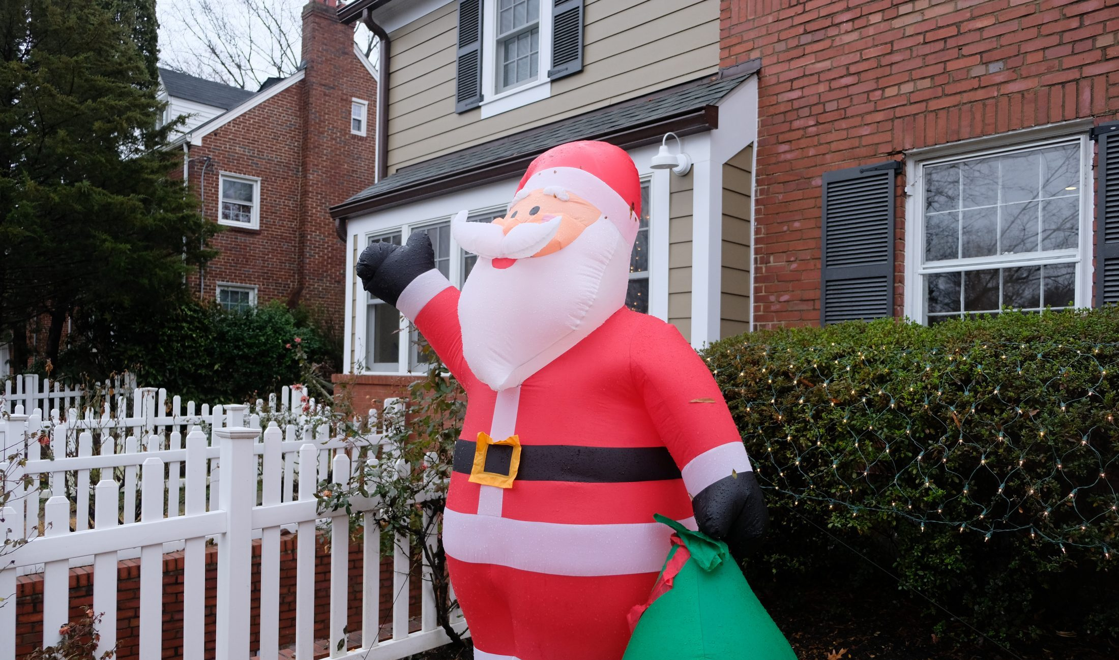 Inflatable Santa in the yard of DC widow Marjorie Brimley