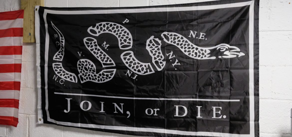 Join or Die banner in DC widow blog writer Marjorie Brimley's house