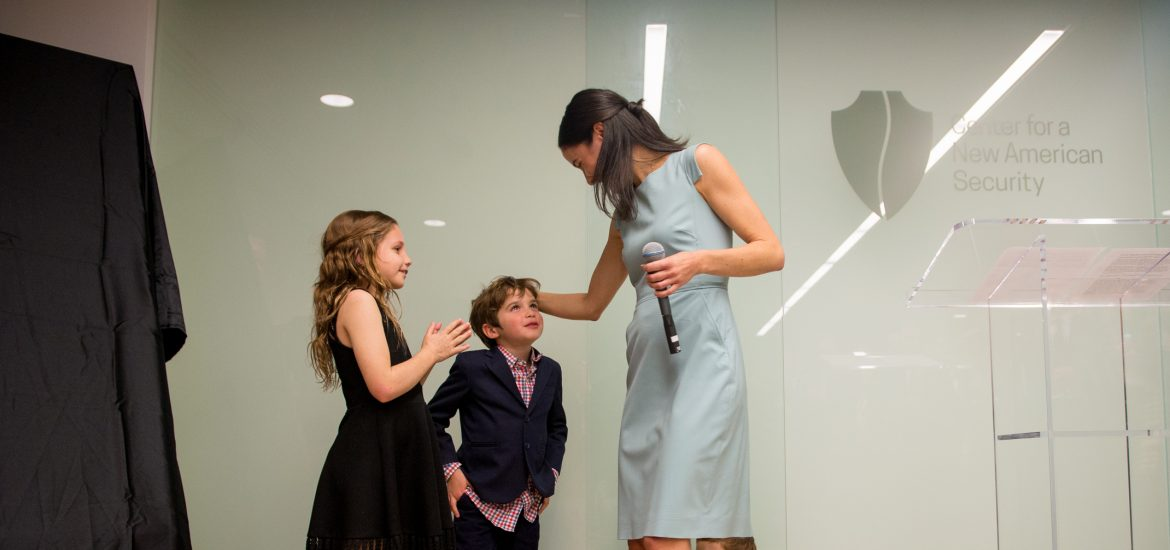 DC widow blog writer Marjorie Brimley greets her children at event