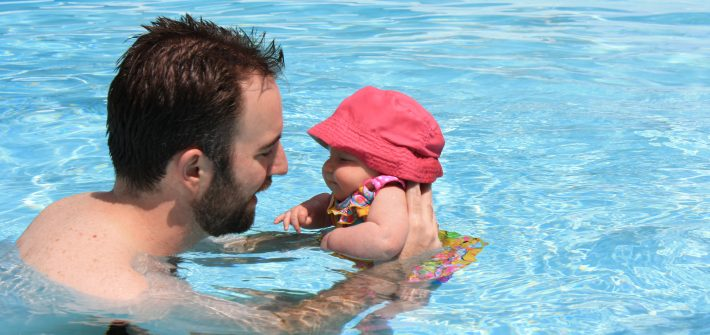 DC widow blog writer Marjorie Brimley's family Shawn and daughter Claire swim in pool when Claire is a baby