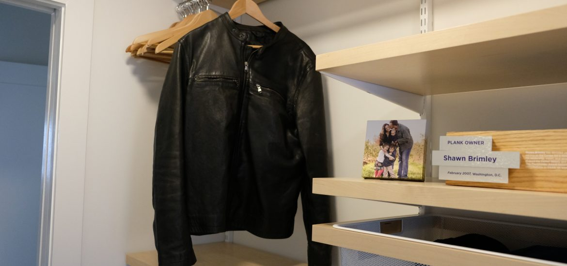 DC widow blog writer Marjorie Brimley's closet with Shawn's leather jacket hanging alone