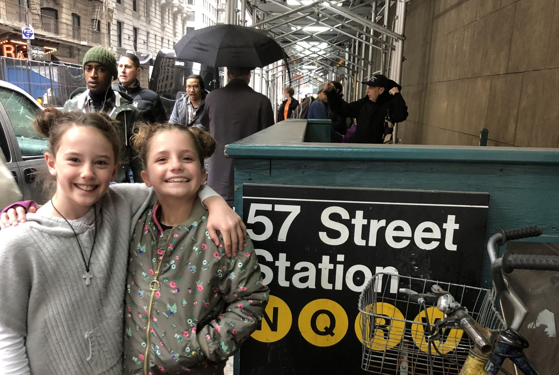 DC widow blog writer Marjorie Brimley's daughter Claire outside a subway station with her cousin in NYC