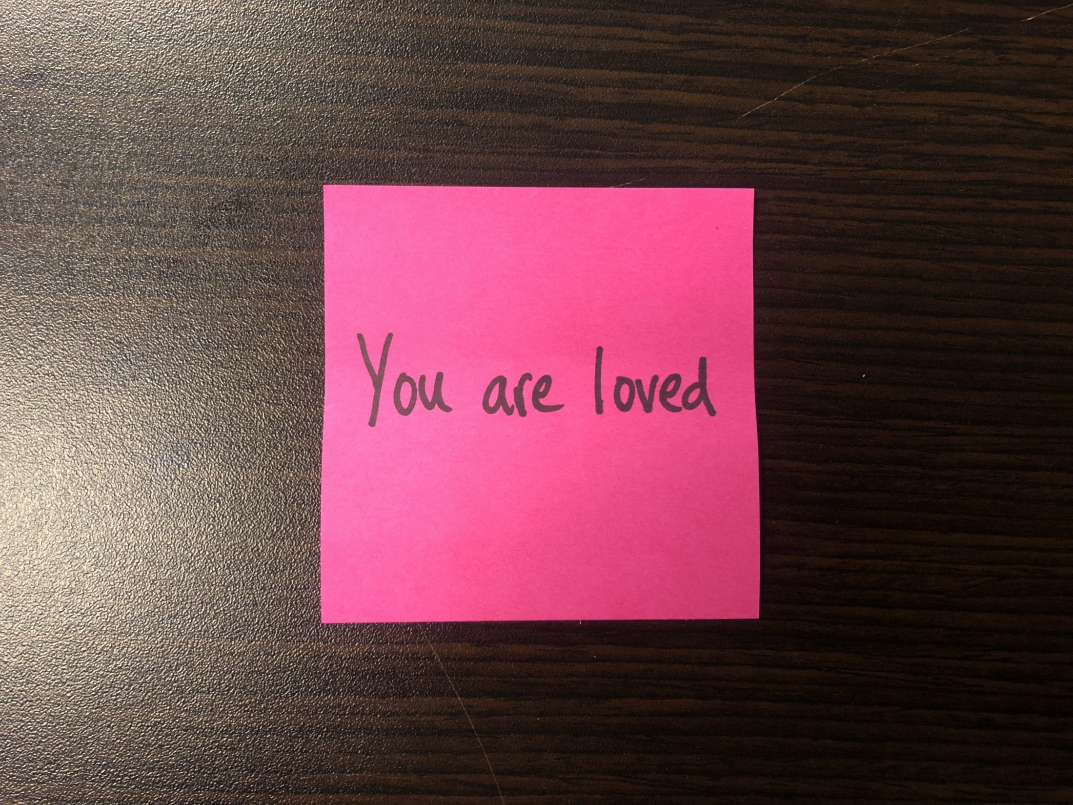 DC Widow blog writer Marjorie Brimley's desk with note that says you are loved