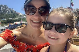 DC widow blog writer Marjorie Brimley and her daughter Claire on a boat in summer