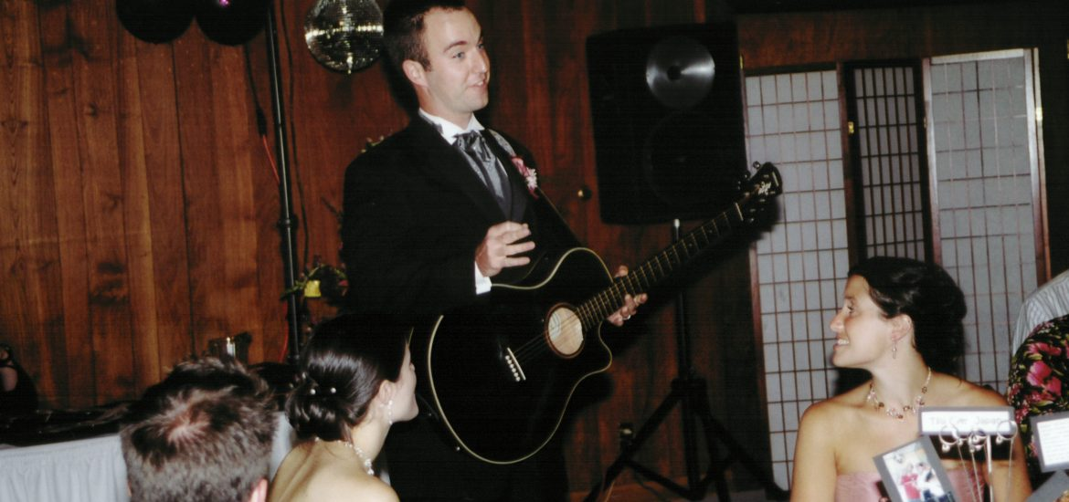 DC widow blog writer Marjorie Brimley's husband plays guitar at their wedding