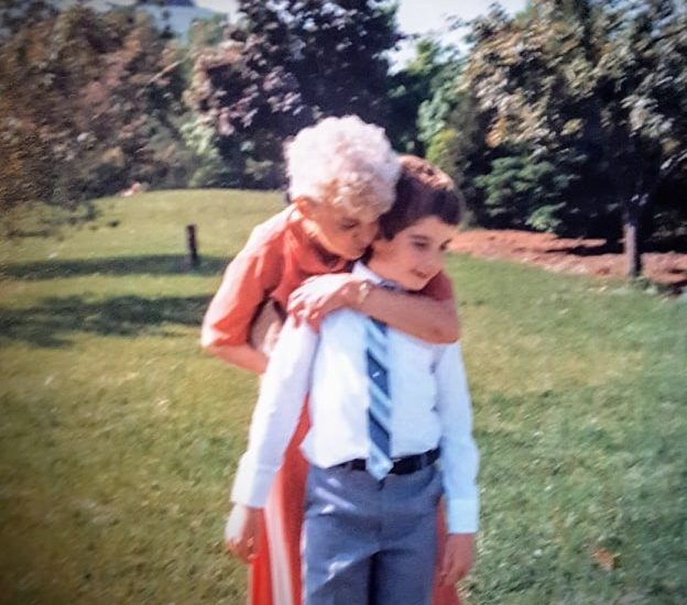 Shawn Brimley, husband of DC widow blog writer Marjorie, is hugged by his grandmother when he was a child