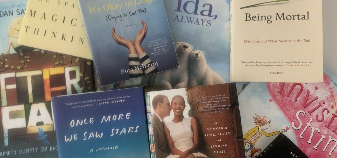 Image of grief books owned by DC widow blog writer Marjorie Brimley