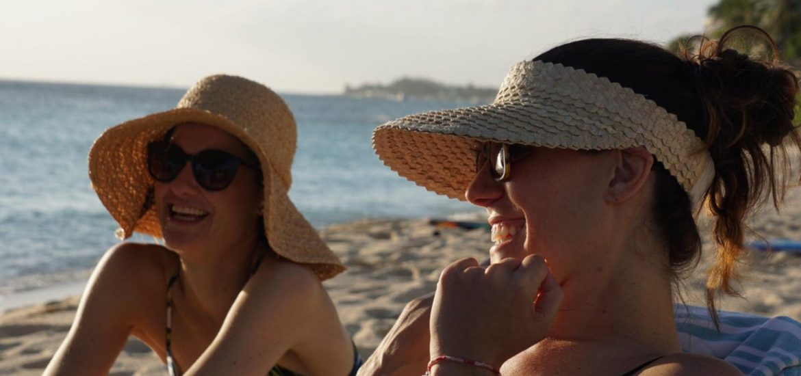 DC widow blog writer Marjorie Brimley and her friend Paige on the beach