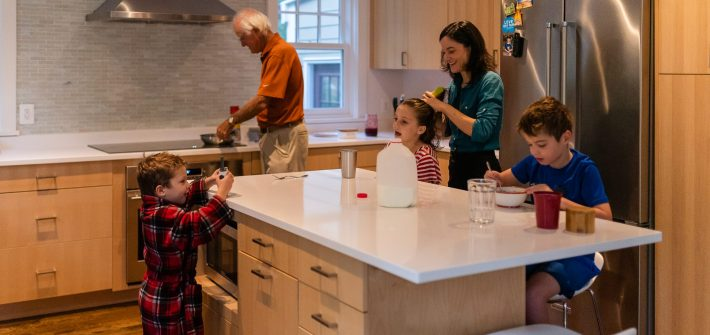 Family of DC widow blog writer Marjorie Brimley gets ready for school in kitchen