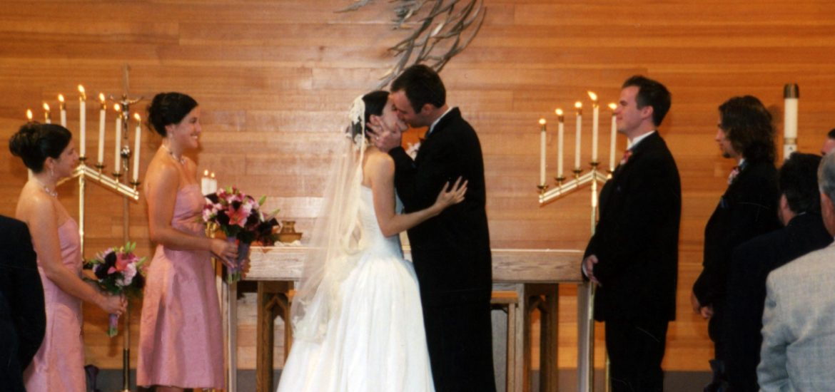 DC widow blog writer Marjorie Brimley kisses husband Shawn at their wedding