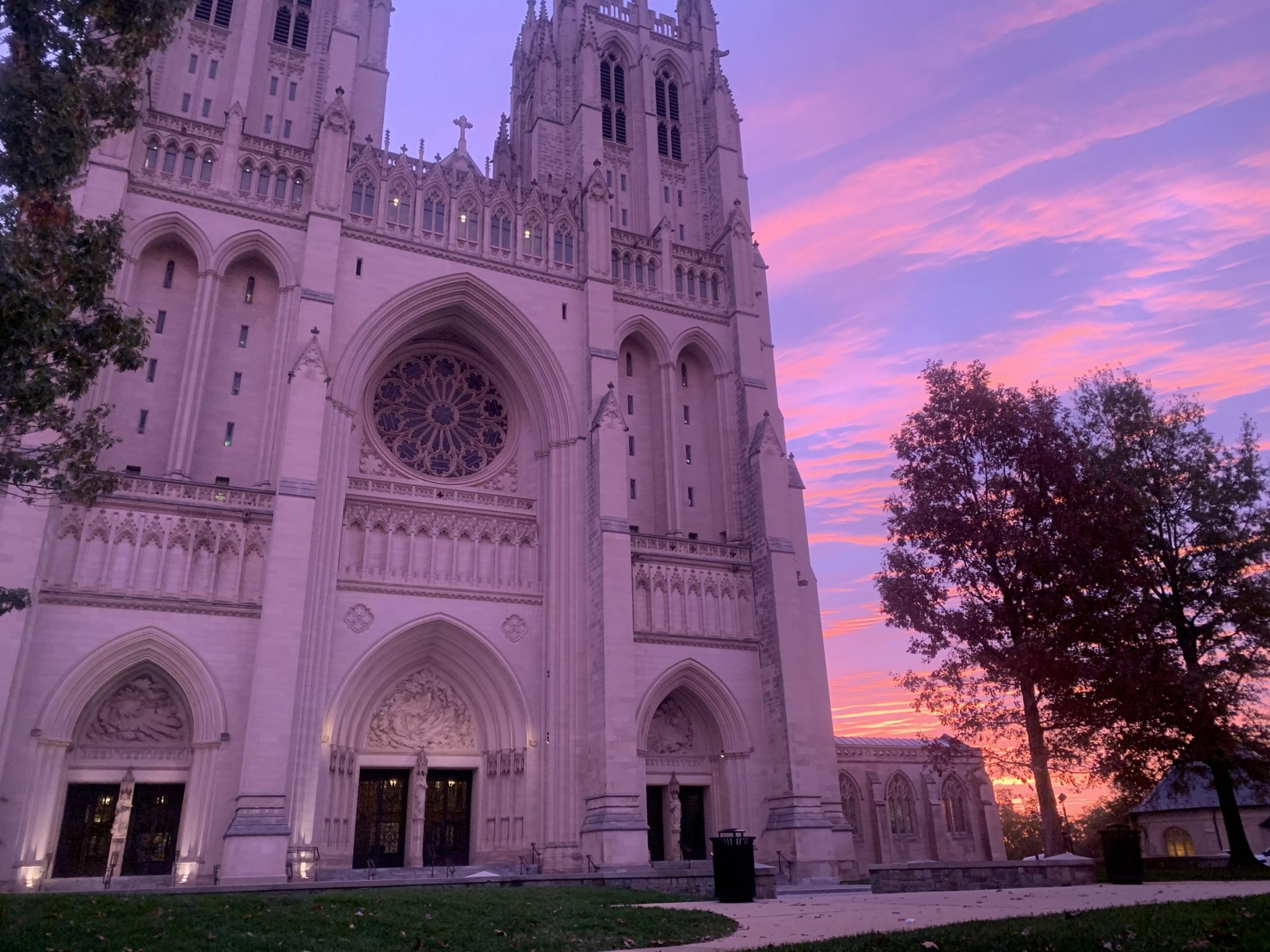 Sunrise at National Cathedral during run of DC widow blog writer Marjorie Brimley