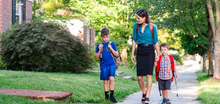 DC widow blog writer Marjorie Brimley walking with her sons