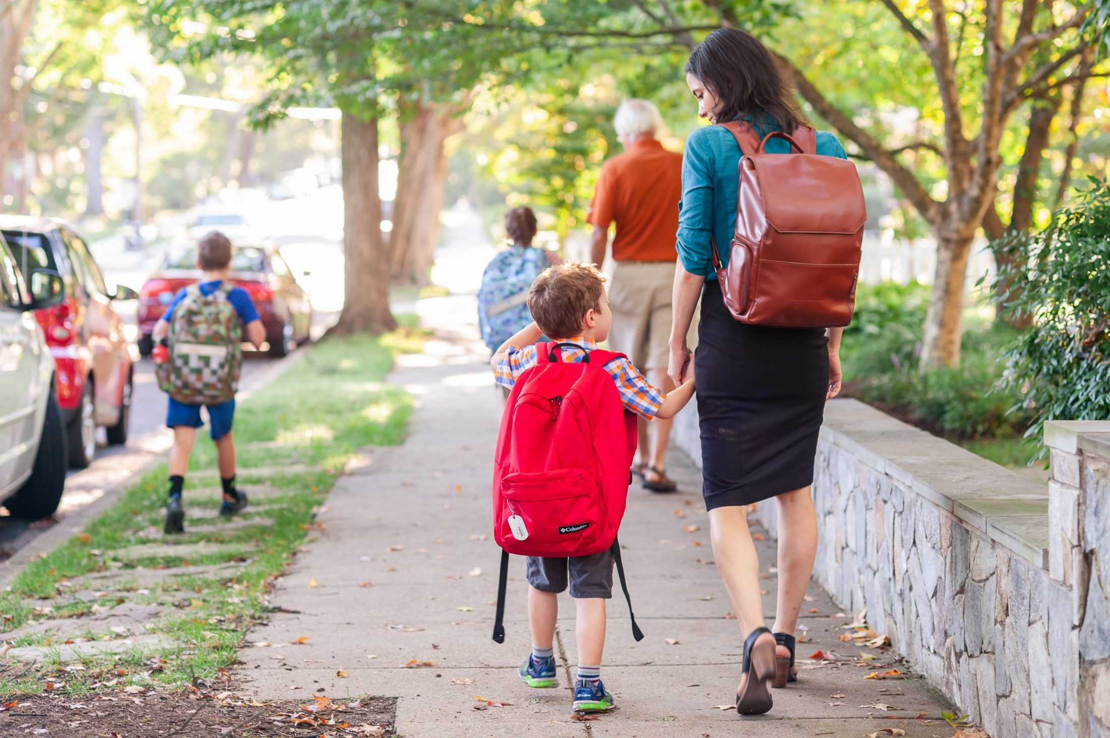 DC widow blog writer Marjorie Brimley walks away from the camera with son Tommy