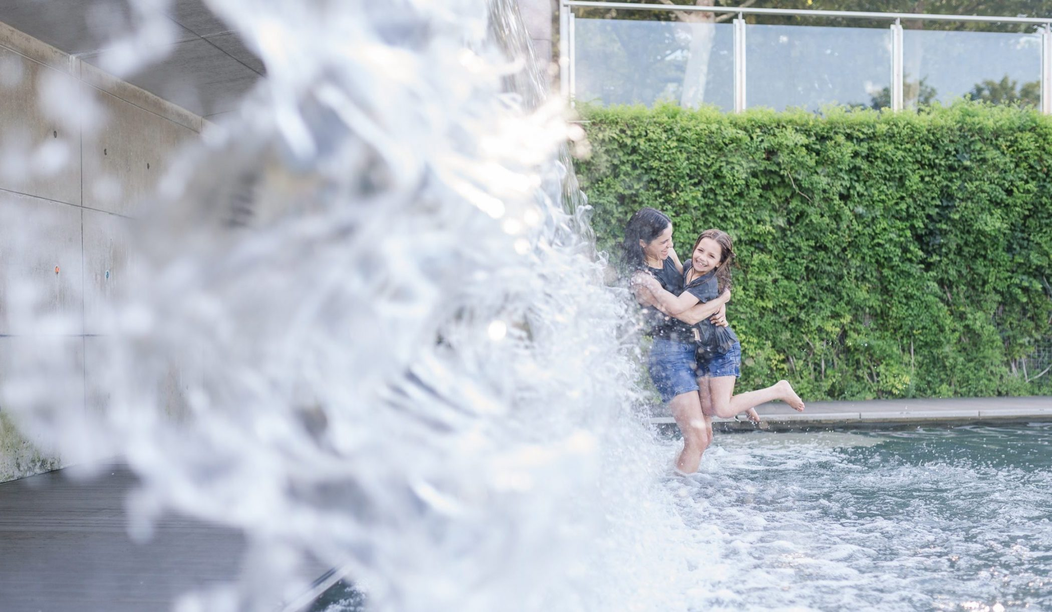 DC widow blog writer Marjorie Brimley with daughter Claire in waterfall
