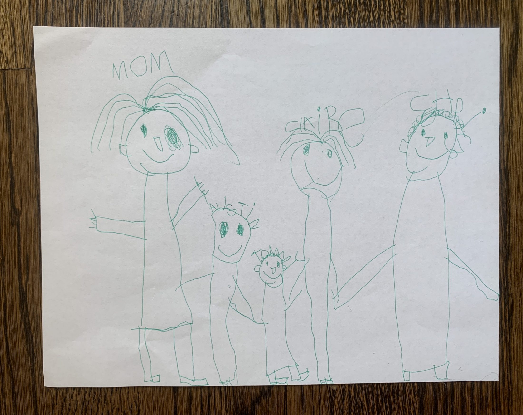 Drawing of family by son of DC widow blog writer Marjorie Brimley