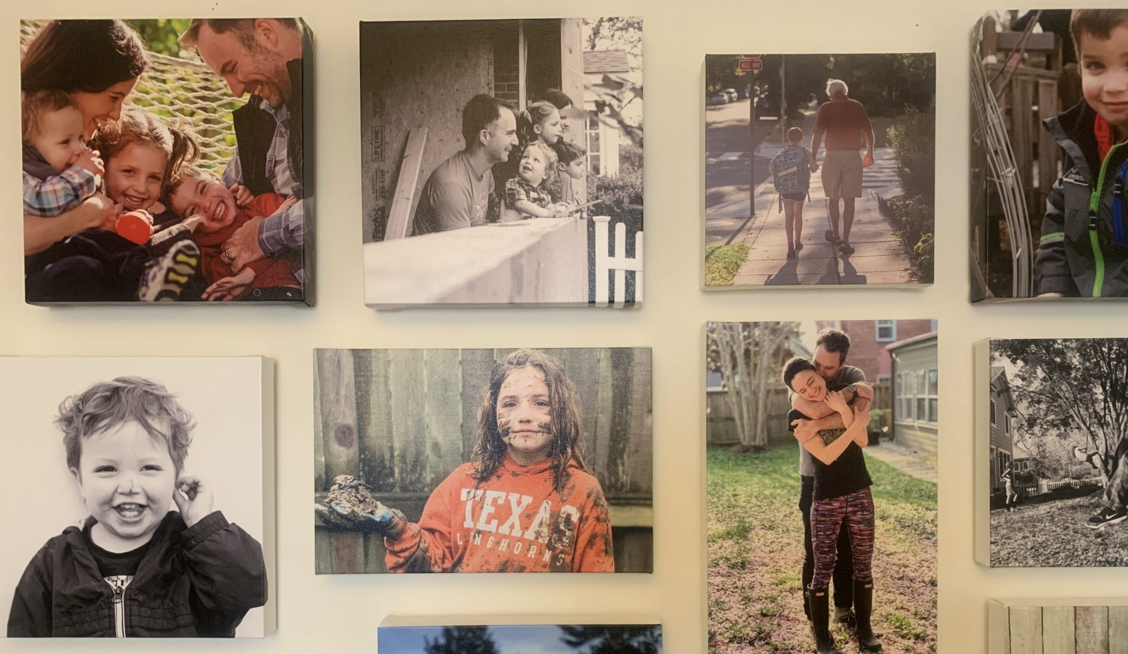 Wall of photos in home of DC widow blog writer Marjorie Brimley