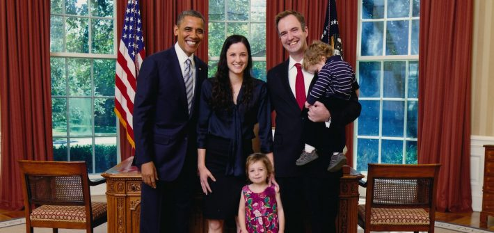 DC widow blog writer Marjorie Brimley with family and President Obama in White House