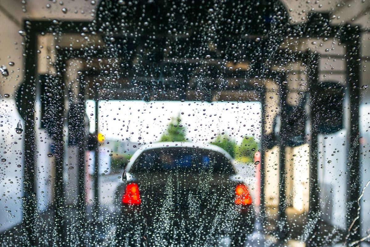 Car in car wash for blog by DC widow writer Marjorie Brimley
