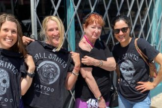DC widow blog writer Marjorie Brimley with cousins and Aunt Terry outside tattoo parlor