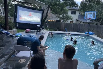 Family of DC widow blog writer Marjorie Brimley watches movie from pool